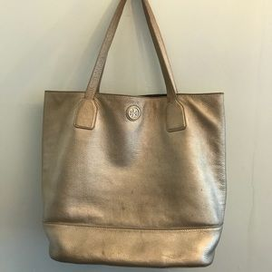 •Tory Burch• Gold Leather Tote